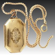 Art Deco 8 Sided Locket Bates & Bacon and Nice Chain