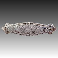 14k White Gold Filigree Art Deco Brooch