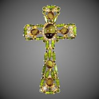 Juliana D & E Cross  Pin / Pendant with Large Striped Cabochon