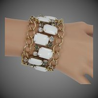 Hobe Wide Rhinestone Milk Glass Bracelet
