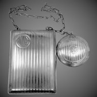 Vintage Sterling Silver Chatelaine Compact and Reticule