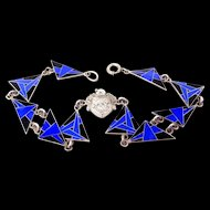 """Fine Sterling Silver and Enamel Art Deco Bracelet Abstract Design """"Unity Assists"""""""