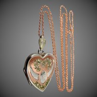 Bliss Bros. Sterling Silver and Tri Color Gold Locket