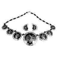 1930s Siam Sterling Silver Necklace and Matching Earrings