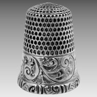 Simons Sterling Silver Size 9 Thimble with Repousse Etching