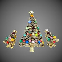 Hollycraft Christmas Tree Pin and Matching Earrings