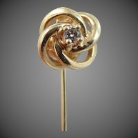 14k Gold and Diamond Love Knot Stick Pin