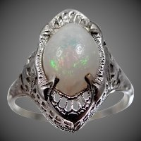 14k White Gold Filigree Art Deco Opal Ring Size 8 3/4