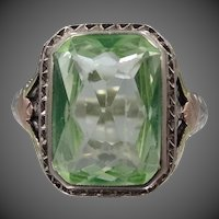 14k White Gold with Tri Color Trim Peridot Filigree Art Deco Ring