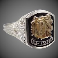 14k White Gold 1920s Filigree High School Ring