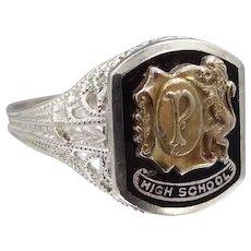 14k White Gold 1920s Filigree High School Ring