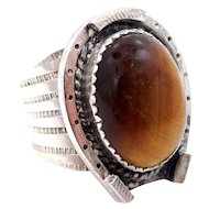 Large Southwestern Sterling Silver and Tiger Eye Horse Shoe Ring