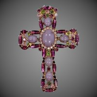Juliana D & E Cross Pin / Pendant with Lavender Cabochon Stones
