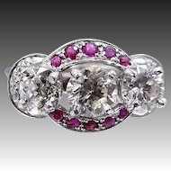 1930s Platinum Rubies and Diamonds Ring 2.15 tcw Diamonds
