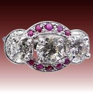 1930s Platinum Rubies and Diamonds Ring 2.15 tcw Diamonds