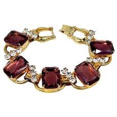Juliana 5 Ring Large Amethyst Glass Bracelet