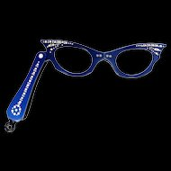 Vintage Blue Rhinestone Folding Cat's Eye Glasses