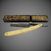 Bismarck Straight Razor with Bone Handles & Original Box E. GEH Co.