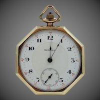 Vintage 8 Sided Medora Pocket Watch Running Condition