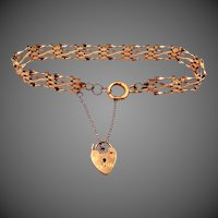 Vintage 9k Gold Gate Link Bracelet With Heart Lock Charm
