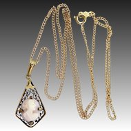 Vintage Coral Cameo Filigree Necklace