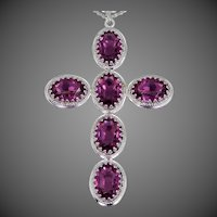 Large DANECRAFT Sterling Silver and Amethyst Colored Glass Cross Necklace
