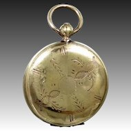 Neat Pocket Watch Shaped Victorian Locket with Tin Types Inside