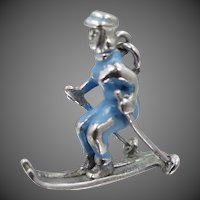 1940's Sterling Silver and Blue Enamel Female Skier Ski