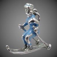 1940's Sterling Silver and Blue Enamel Female Skier Ski