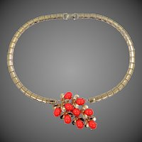 Sterling Vermeil and Faux Coral Necklace & Matching Earrings