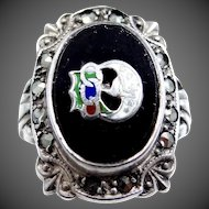 Daughters of Rebekah Uncas Sterling Silver Art Deco Marcasites Ring