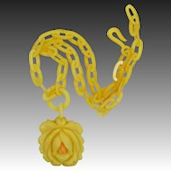 1920's Celluloid Figural Rose Butterscotch Necklace