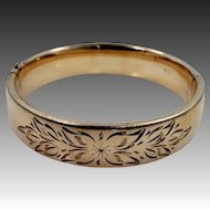 Vintage Gold Filled Craftmere Bangle Bracelet with Floral Etching