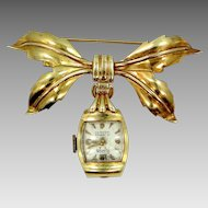 14k Gold Circa 1940s Lapel Watch With Bow Motif