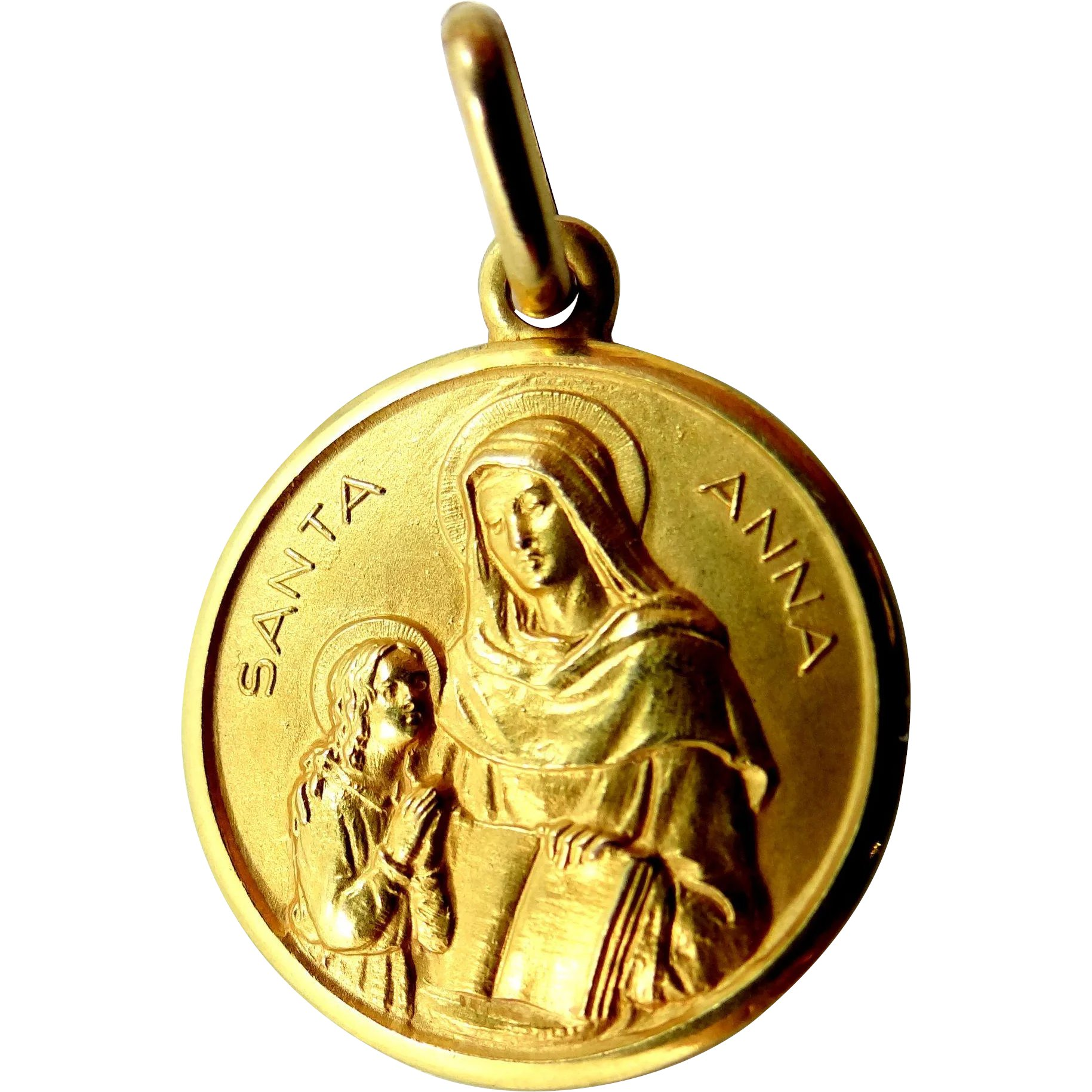 de75322163e 18k Solid Gold St. Anne and the Blessed Mother Medal : Mur-Sadie's Jewelry  | Ruby Lane