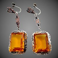 Art Deco Sterling Silver & Plated Brass and Topaz Colored Glass Enamel Dangle Earrings
