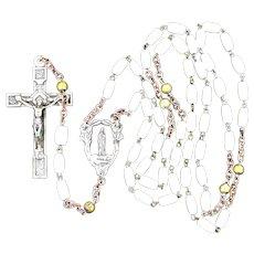 Vintage Milk Glass Reliquary Rosary