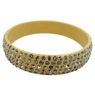 1920s Celluloid 5 Row Rhinestones Bangle Bracelet