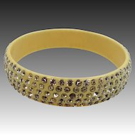 1920s Celluloid 5 Row Rhinestones Bangle Bracelet