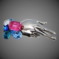 Wendy Gell Figural Hand Rhinestone Pin with Wristie