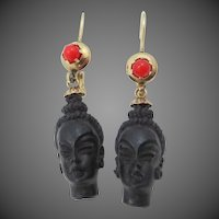 Vintage 14k Gold Coral and Carved Blackamoor Dangle Earrings