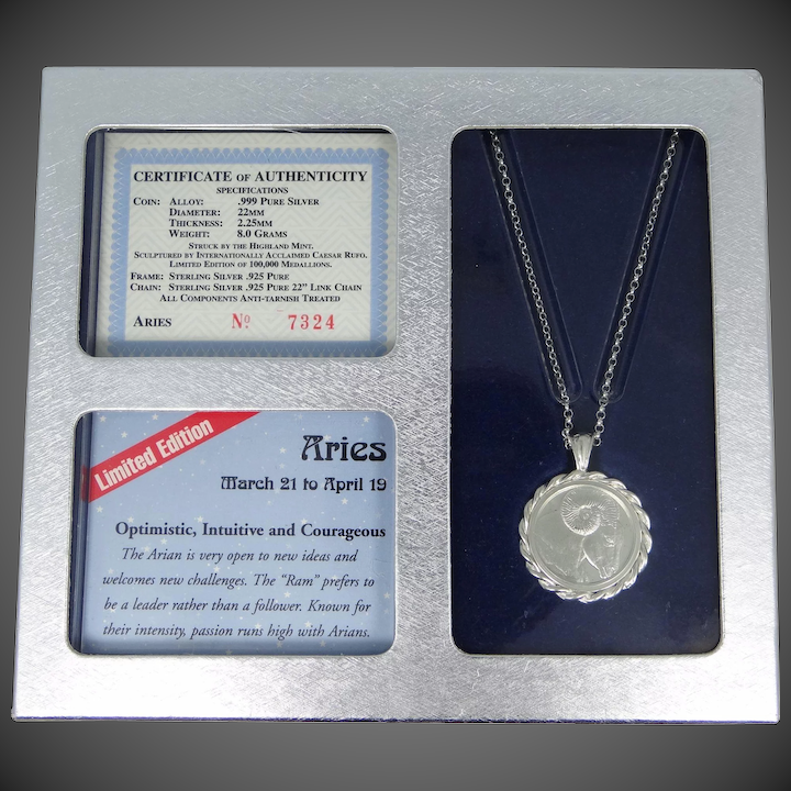 6bc3fac6445fc Vintage .999 Pure Silver Aries Coin in Sterling Silver Necklace Mint in Box  OSS
