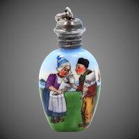 Pretty Vintage Sterling Hand Painted Dutch Couple Perfume Bottle Pendant Charm