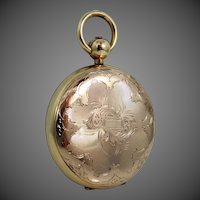 Victorian Gold Fld. Pocket Watch Shaped Locket with Engraved Village
