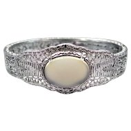 Art Deco Rhodium Plated Filigree Bangle with Faux Chalcedony Stone