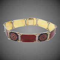 David Andersen Norway Sterling Vermeil Red Guilloche and Black Enamel Bracelet