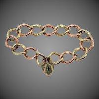 Victorian S.O. Bigney Locking Heart Clasp Rose GF & Yellow GF Bracelet