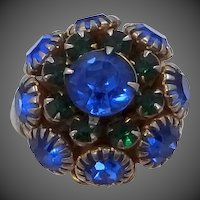 Judy Lee 1960s Layered Blue Rhinestones Lady's Ring