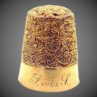 14k Gold Carter, Gough Antique Repousse Thimble