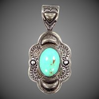 Carol Felley Southwestern Artist Sterling and Turquoise Pendant